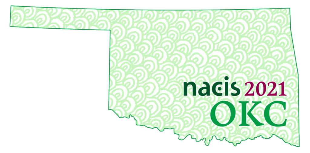 NACIS 2021 logo on top of a shape of the state of Oklahoma, filled with Dormido Dots